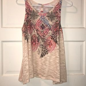 Aztec and feather design tank top